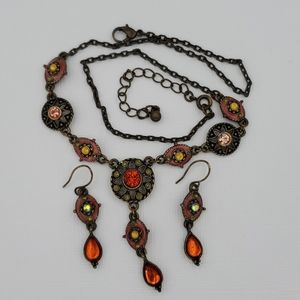 NR (Avon) Antique Bronze Y Necklace & Earrings Set